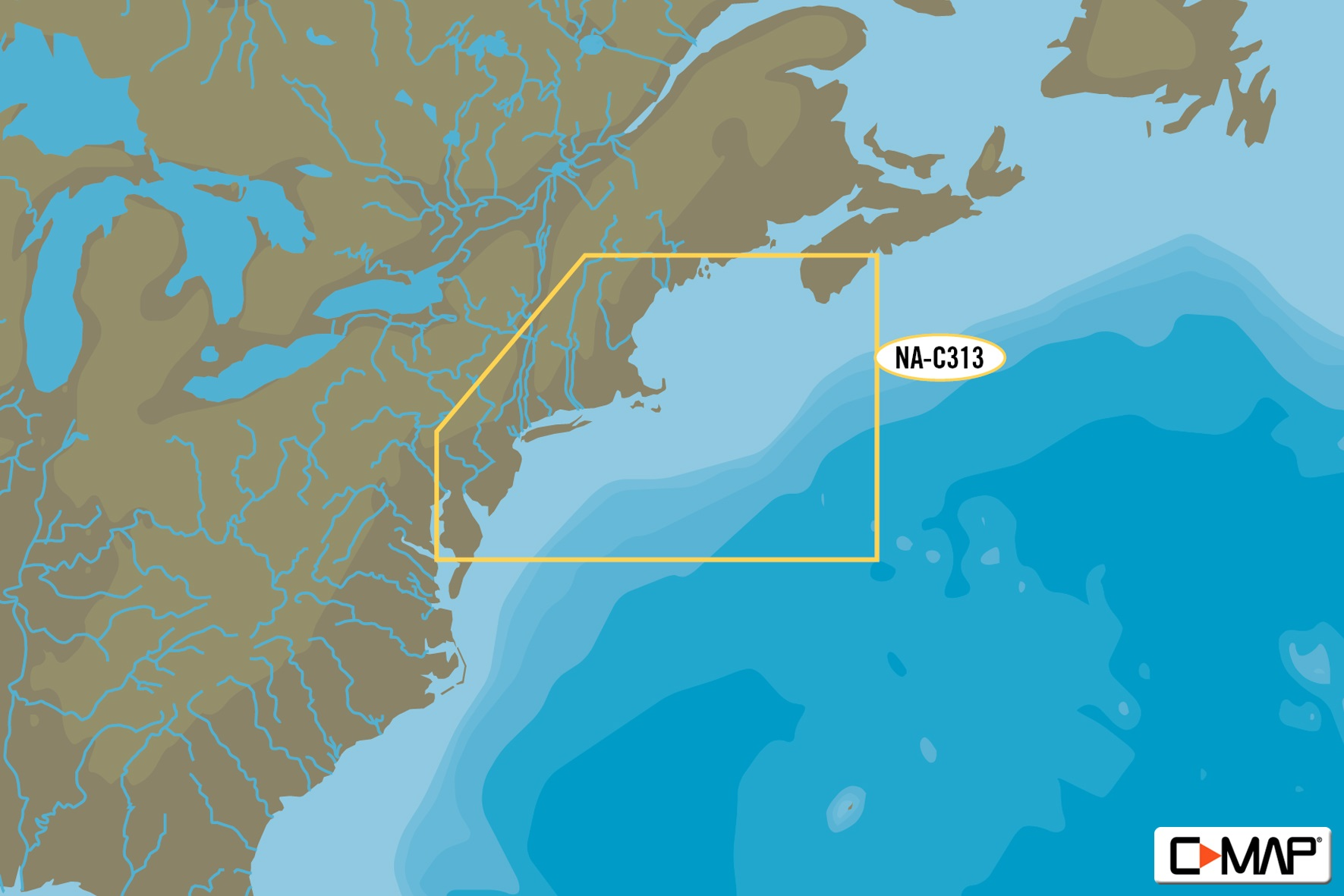 C-Map C-MAP NA-C313 Muscongus Bay To Cape May Bathymetric -