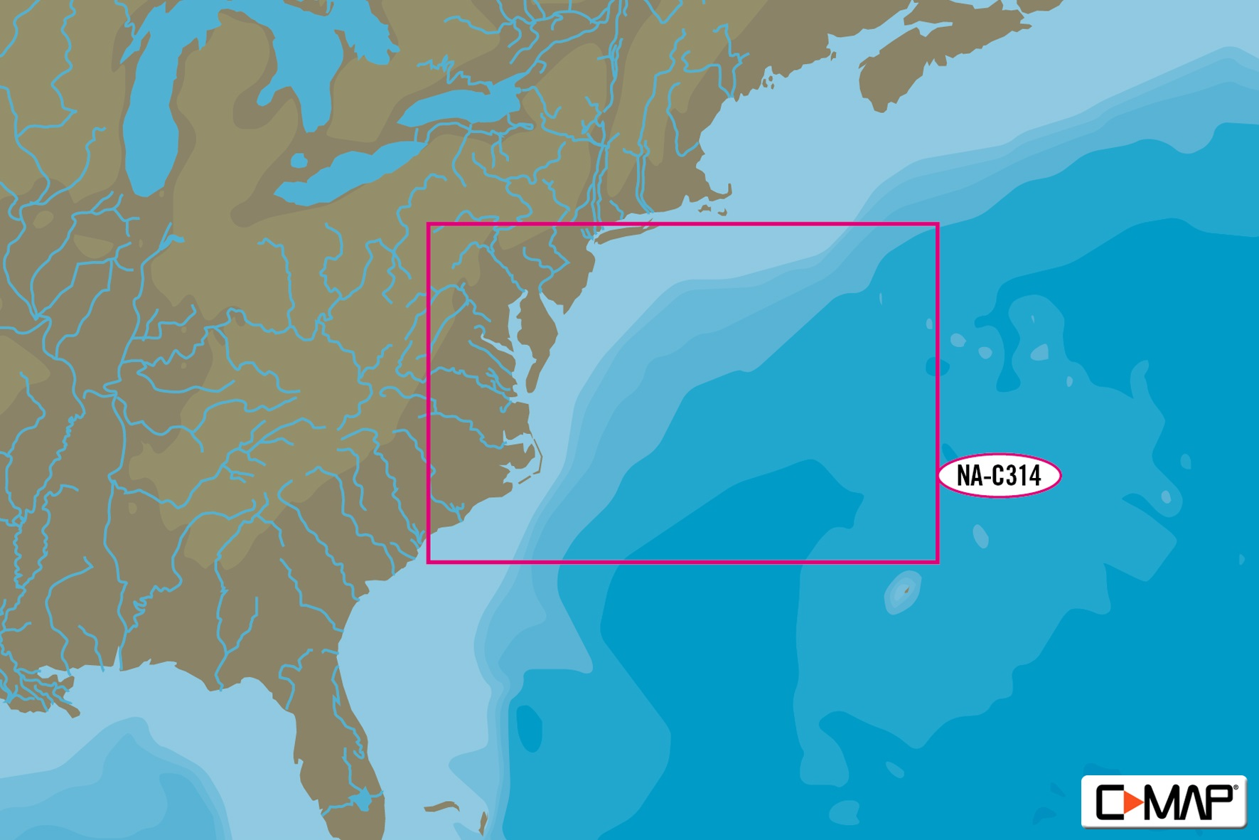 C-Map C-MAP NA-C314 Sandy Hook To Cape Fear Bathymetric -
